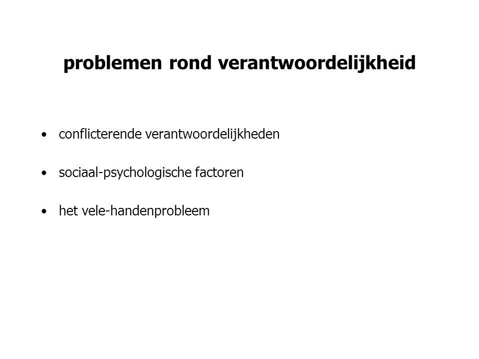 problemen rond verantwoordelijkheid conflicterende verantwoordelijkheden sociaal-psychologische factoren het vele-handenprobleem