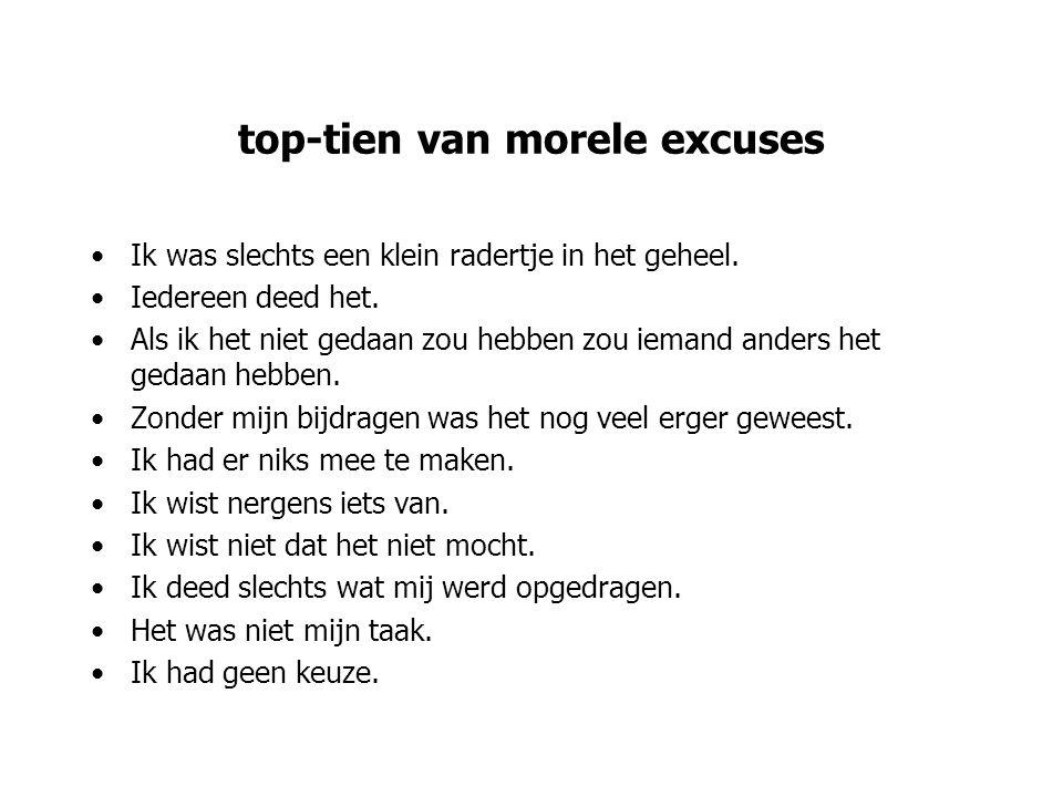 top-tien van morele excuses Ik was slechts een klein radertje in het geheel. Iedereen deed het. Als ik het niet gedaan zou hebben zou iemand anders he