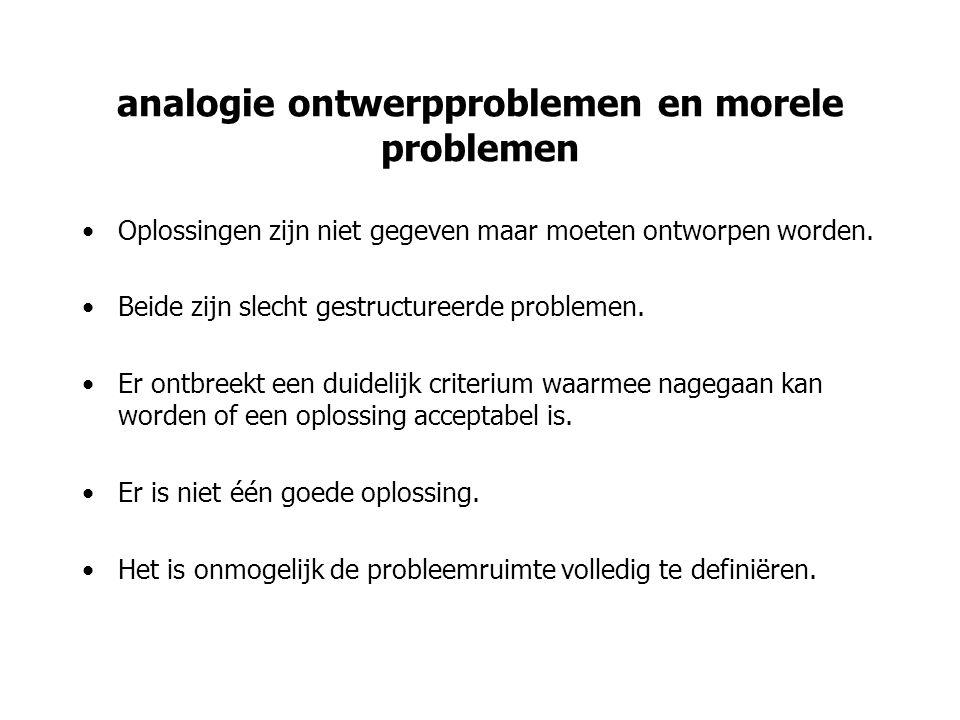 analogie ontwerpproblemen en morele problemen Oplossingen zijn niet gegeven maar moeten ontworpen worden. Beide zijn slecht gestructureerde problemen.