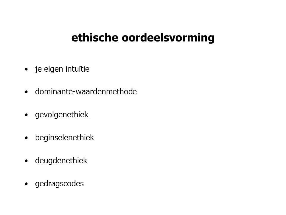 ethische oordeelsvorming je eigen intuïtie dominante-waardenmethode gevolgenethiek beginselenethiek deugdenethiek gedragscodes