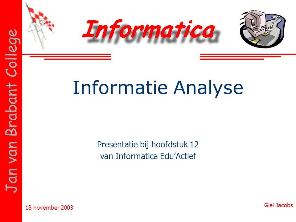 18 november 2003 Giel Jacobs Jan van Brabant College Informatie Analyse Presentatie bij hoofdstuk 12 van Informatica Edu'Actief