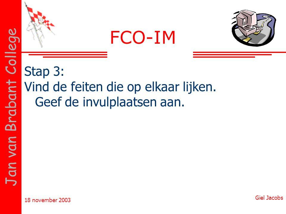 18 november 2003 Giel Jacobs Jan van Brabant College FCO-IM Stap 3: Vind de feiten die op elkaar lijken. Geef de invulplaatsen aan.