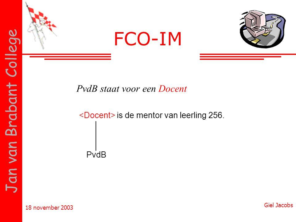 18 november 2003 Giel Jacobs Jan van Brabant College FCO-IM is de mentor van leerling 256. PvdB PvdB staat voor een Docent