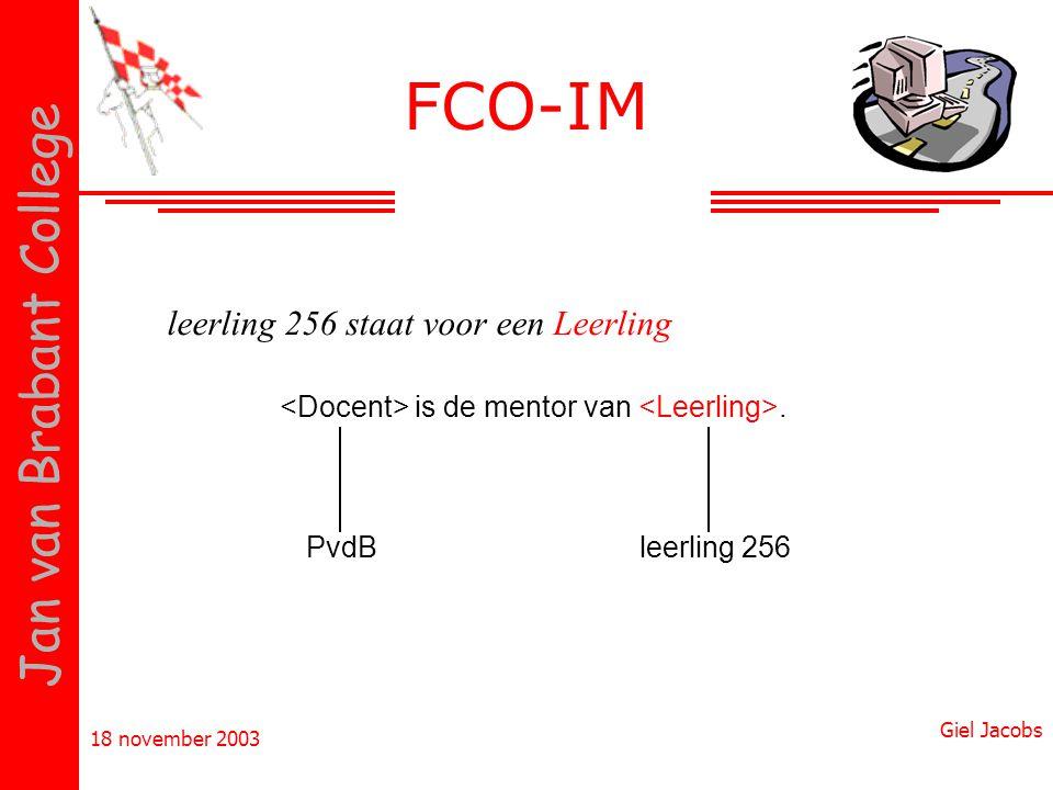 18 november 2003 Giel Jacobs Jan van Brabant College FCO-IM is de mentor van. PvdBleerling 256 leerling 256 staat voor een Leerling