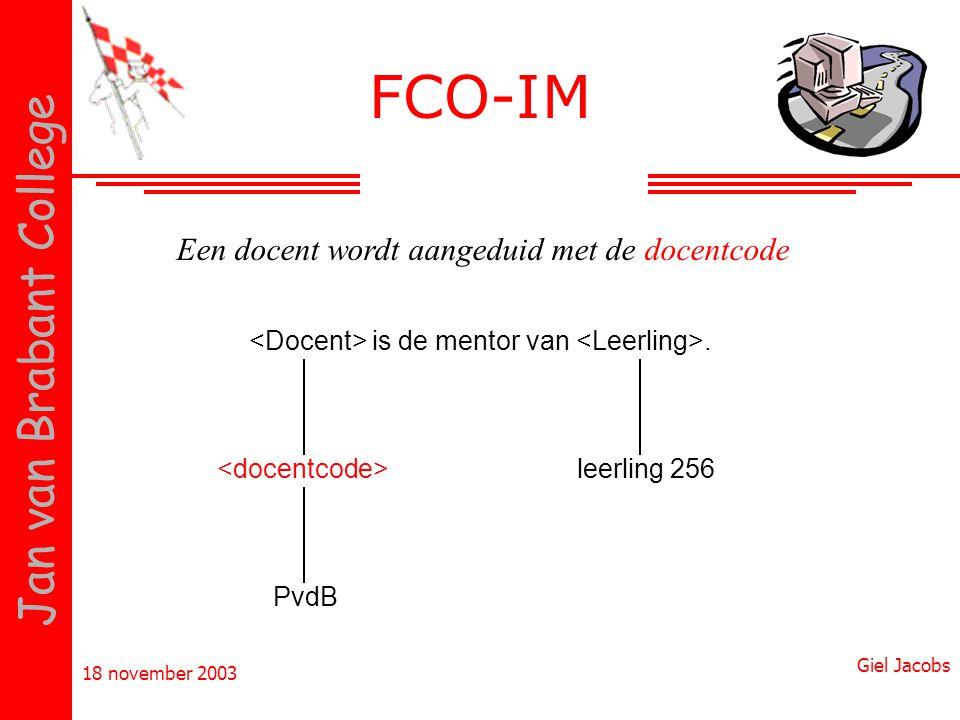 18 november 2003 Giel Jacobs Jan van Brabant College is de mentor van. PvdB Een docent wordt aangeduid met de docentcode leerling 256 FCO-IM