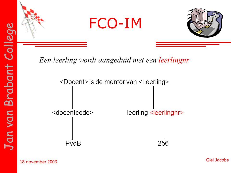 18 november 2003 Giel Jacobs Jan van Brabant College is de mentor van. PvdB256 Een leerling wordt aangeduid met een leerlingnr leerling FCO-IM