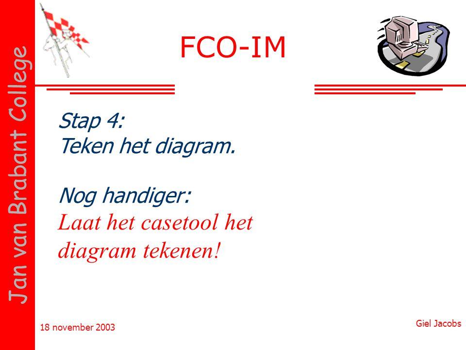 18 november 2003 Giel Jacobs Jan van Brabant College Stap 4: Teken het diagram. Nog handiger: Laat het casetool het diagram tekenen! FCO-IM