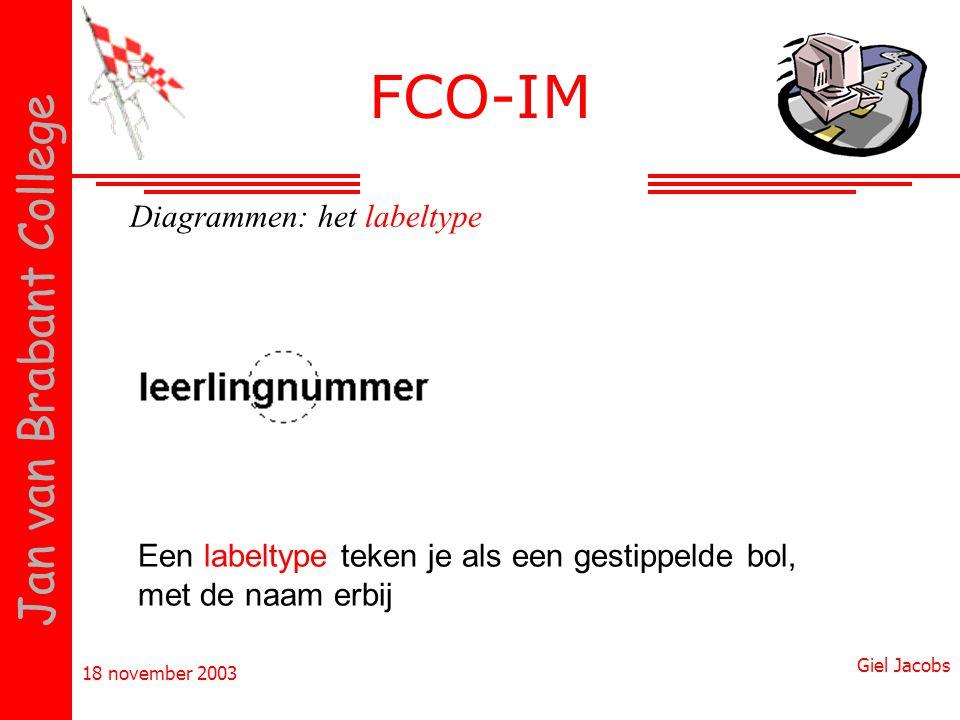 18 november 2003 Giel Jacobs Jan van Brabant College Diagrammen: het labeltype Een labeltype teken je als een gestippelde bol, met de naam erbij FCO-I