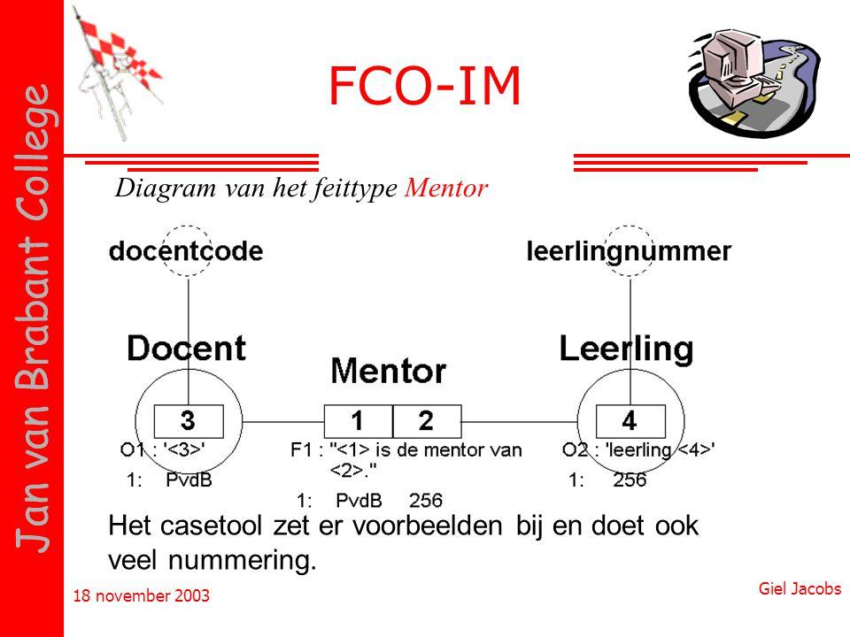 18 november 2003 Giel Jacobs Jan van Brabant College Het casetool zet er voorbeelden bij en doet ook veel nummering. Diagram van het feittype Mentor F