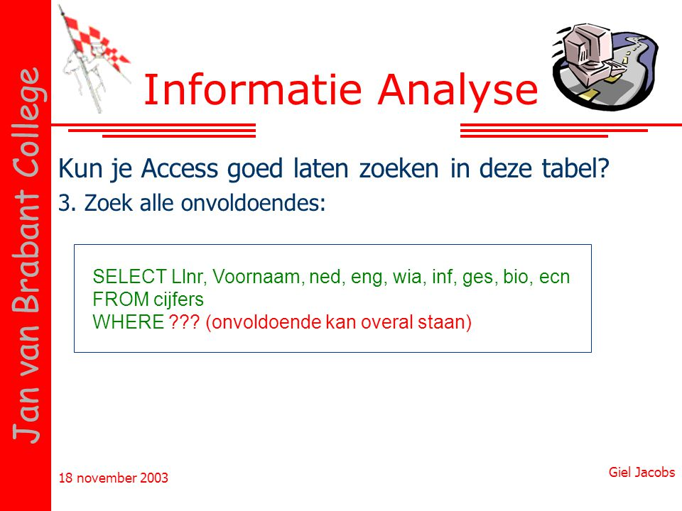 18 november 2003 Giel Jacobs Jan van Brabant College Kun je Access goed laten zoeken in deze tabel? 3. Zoek alle onvoldoendes: Informatie Analyse SELE