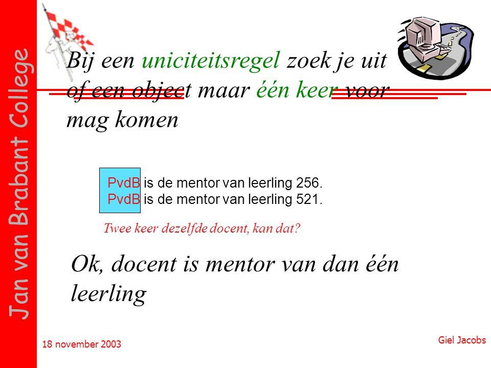 18 november 2003 Giel Jacobs Jan van Brabant College PvdB is de mentor van leerling 256. PvdB is de mentor van leerling 521. Twee keer dezelfde docent