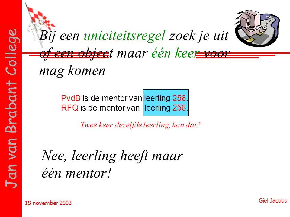 18 november 2003 Giel Jacobs Jan van Brabant College Bij een uniciteitsregel zoek je uit of een object maar één keer voor mag komen PvdB is de mentor