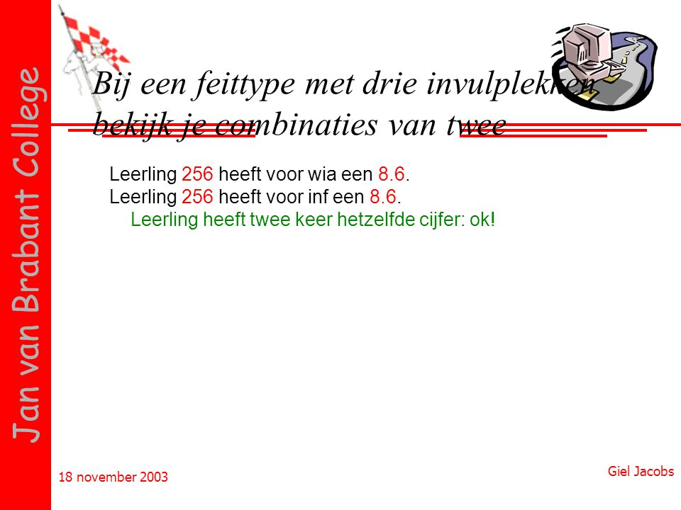 18 november 2003 Giel Jacobs Jan van Brabant College Bij een feittype met drie invulplekken bekijk je combinaties van twee Leerling 256 heeft voor wia