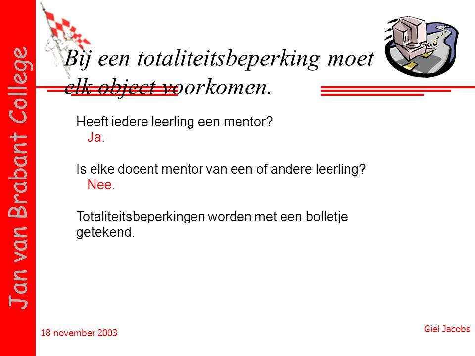 18 november 2003 Giel Jacobs Jan van Brabant College Bij een totaliteitsbeperking moet elk object voorkomen. Heeft iedere leerling een mentor? Ja. Is