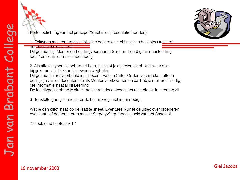 18 november 2003 Giel Jacobs Jan van Brabant College Korte toelichting van het principe (niet in de presentatie houden): 1. Feittypen met een unicitei