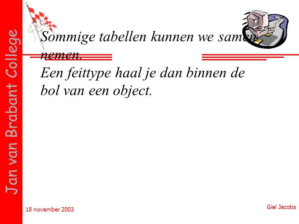 18 november 2003 Giel Jacobs Jan van Brabant College Sommige tabellen kunnen we samen nemen. Een feittype haal je dan binnen de bol van een object.