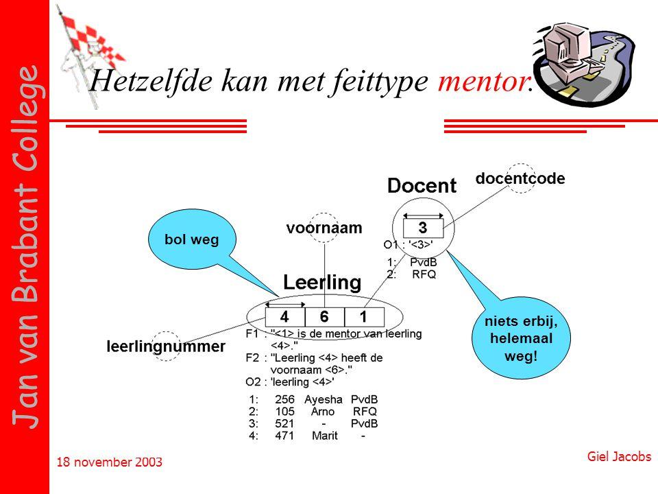 18 november 2003 Giel Jacobs Jan van Brabant College Hetzelfde kan met feittype mentor. bol weg niets erbij, helemaal weg!