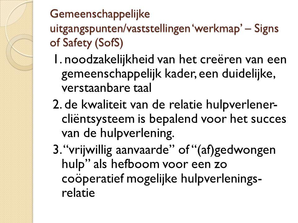 Gemeenschappelijke uitgangspunten/vaststellingen 'werkmap' – Signs of Safety (SofS) 1. noodzakelijkheid van het creëren van een gemeenschappelijk kade