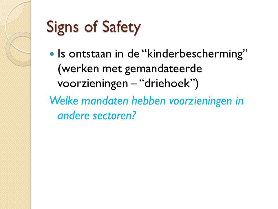 """Signs of Safety Is ontstaan in de """"kinderbescherming"""" (werken met gemandateerde voorzieningen – """"driehoek"""") Welke mandaten hebben voorzieningen in and"""