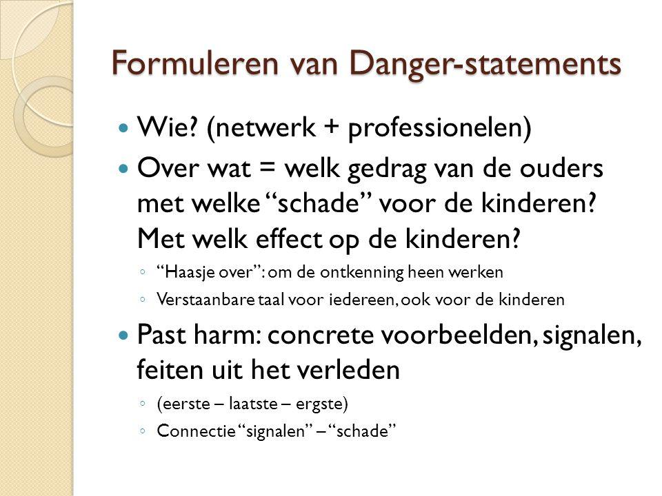 """Formuleren van Danger-statements Wie? (netwerk + professionelen) Over wat = welk gedrag van de ouders met welke """"schade"""" voor de kinderen? Met welk ef"""