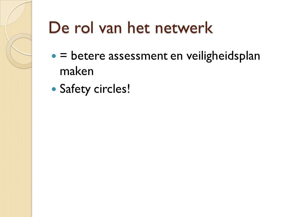 De rol van het netwerk = betere assessment en veiligheidsplan maken Safety circles!