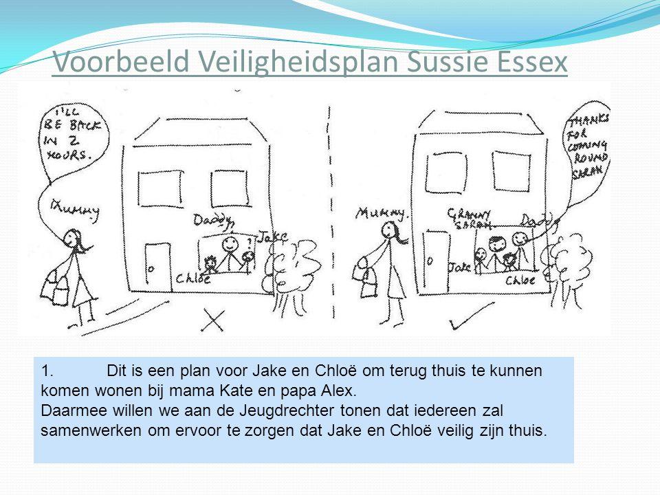 Voorbeeld Veiligheidsplan Sussie Essex 1.Dit is een plan voor Jake en Chloë om terug thuis te kunnen komen wonen bij mama Kate en papa Alex. Daarmee w