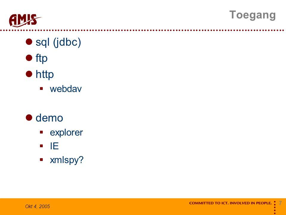7 Okt 4, 2005 Toegang sql (jdbc) ftp http  webdav demo  explorer  IE  xmlspy?