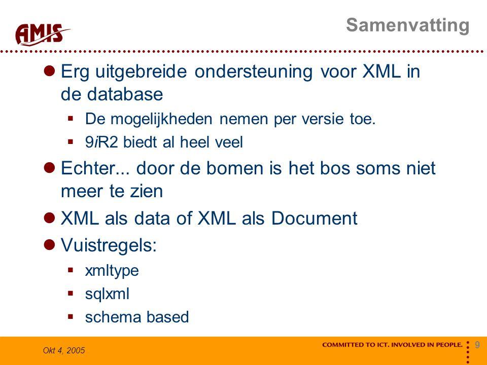 9 Okt 4, 2005 Samenvatting Erg uitgebreide ondersteuning voor XML in de database  De mogelijkheden nemen per versie toe.