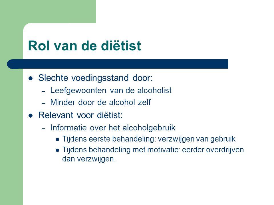 Rol van de diëtist Slechte voedingsstand door: – Leefgewoonten van de alcoholist – Minder door de alcohol zelf Relevant voor diëtist: – Informatie ove