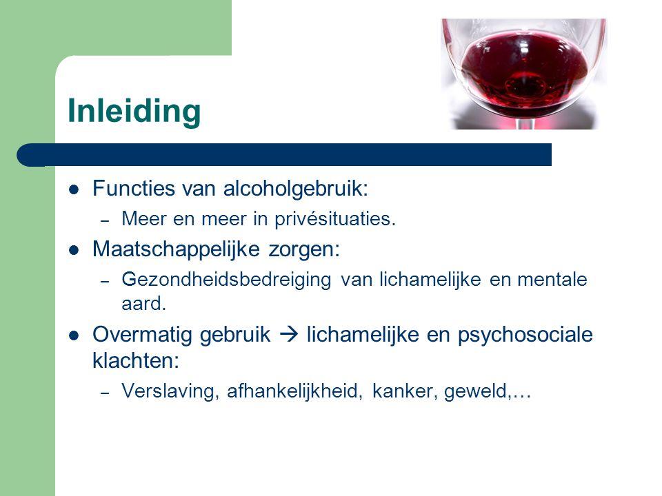 Inleiding Functies van alcoholgebruik: – Meer en meer in privésituaties. Maatschappelijke zorgen: – Gezondheidsbedreiging van lichamelijke en mentale