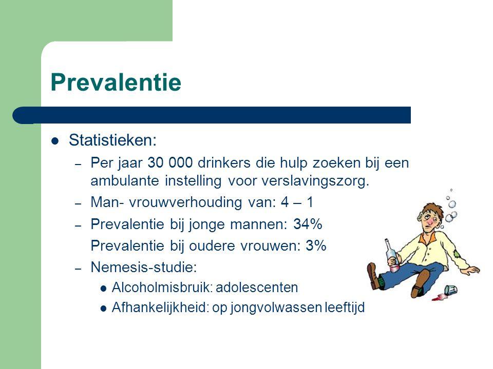 Prevalentie Statistieken: – Per jaar 30 000 drinkers die hulp zoeken bij een ambulante instelling voor verslavingszorg. – Man- vrouwverhouding van: 4