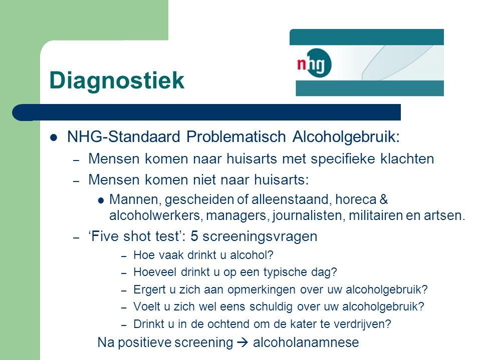 Diagnostiek NHG-Standaard Problematisch Alcoholgebruik: – Mensen komen naar huisarts met specifieke klachten – Mensen komen niet naar huisarts: Mannen