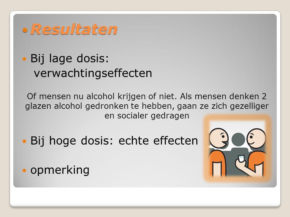 Resultaten Resultaten Bij lage dosis: verwachtingseffecten Of mensen nu alcohol krijgen of niet.