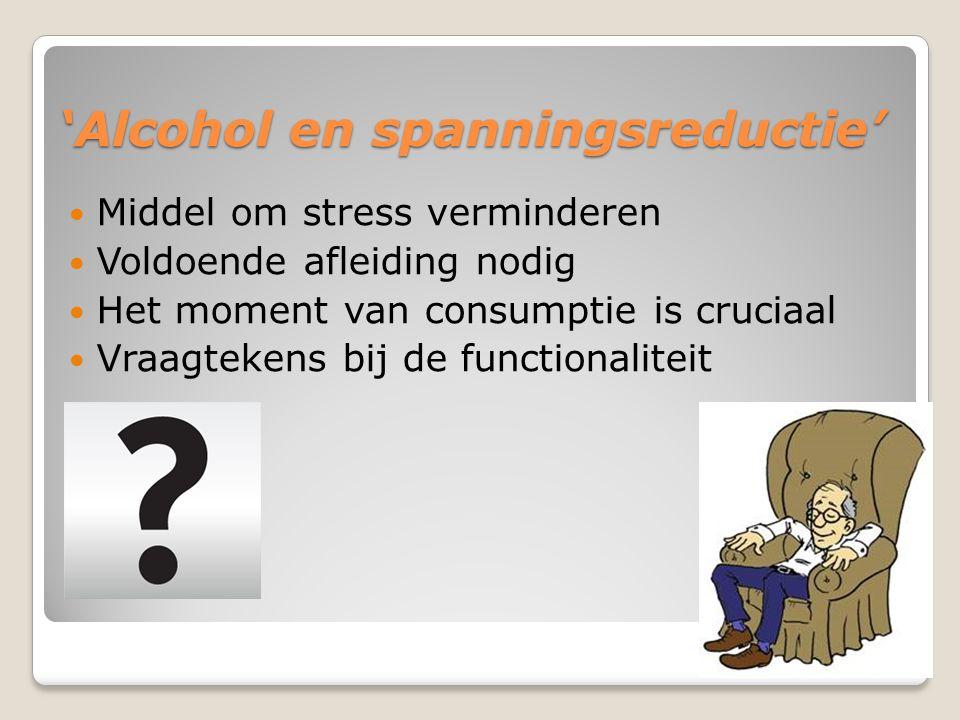'Alcohol en spanningsreductie' Middel om stress verminderen Voldoende afleiding nodig Het moment van consumptie is cruciaal Vraagtekens bij de functionaliteit