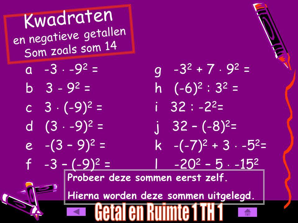 a -3  -9 2 = b 3 - 9 2 = c 3  (-9) 2 = d (3  -9) 2 = e -(3 – 9) 2 = f -3 – (-9) 2 = Kwadraten en negatieve getallen Som zoals som 14 g -3 2 + 7  9 2 = h (-6) 2 : 3 2 = i 32 : -2 2 = j 32 – (-8) 2 = k -(-7) 2 + 3  -5 2 = l -20 2 – 5  -15 2 Probeer deze sommen eerst zelf.