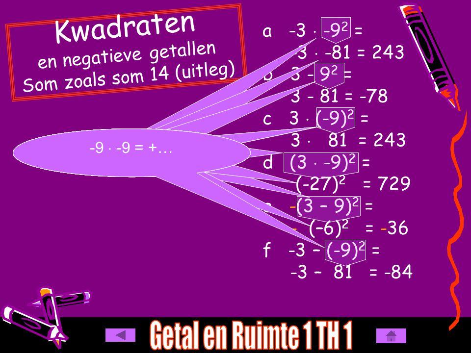 a -3  -9 2 = -3  -81 = 243 b 3 - 9 2 = 3 - 81 = -78 c 3  (-9) 2 = 3  81 = 243 d (3  -9) 2 = (-27) 2 = 729 e -(3 – 9) 2 = - (–6) 2 = -36 f -3 – (-9) 2 = -3 – 81 = -84 Kwadraten en negatieve getallen Som zoals som 14 (uitleg) kwadraat gaat voor keer -  - = + kwadraat gaat voor min kwadraat gaat voor keer haakjes gaan voor kwadraat - 27  -27 = +… -9  -9 = +… -6  -6 = +… Let op de - -9  -9 = +…