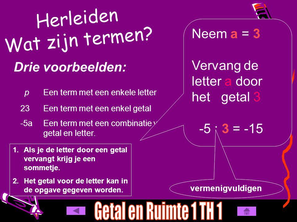 Herleiden Wat zijn termen? Drie voorbeelden: pEen term met een enkele letter 23Een term met een enkel getal -5aEen term met een combinatie van een get