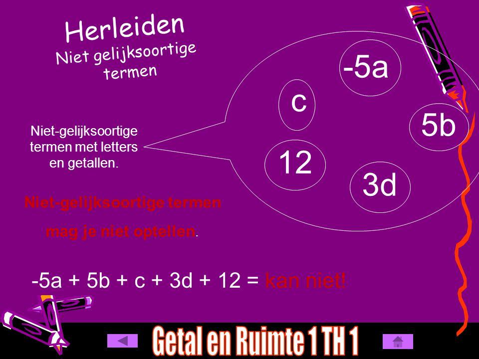Herleiden Niet gelijksoortige termen -5a 5b c 3d Niet-gelijksoortige termen met letters en getallen. Niet-gelijksoortige termen mag je niet optellen.