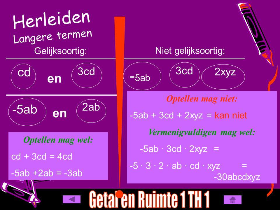 Herleiden Langere termen Gelijksoortig: Niet gelijksoortig: - 5ab 3cd 2xyz cd 3cd en -5ab en 2ab Optellen mag wel: cd + 3cd = 4cd -5ab +2ab = -3ab Opt