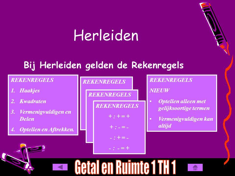 Herleiden Bij Herleiden gelden de Rekenregels REKENREGELS 1.Haakjes 2.Kwadraten 3.Vermenigvuldigen en Delen 4.Optellen en Aftrekken. REKENREGELS + + =