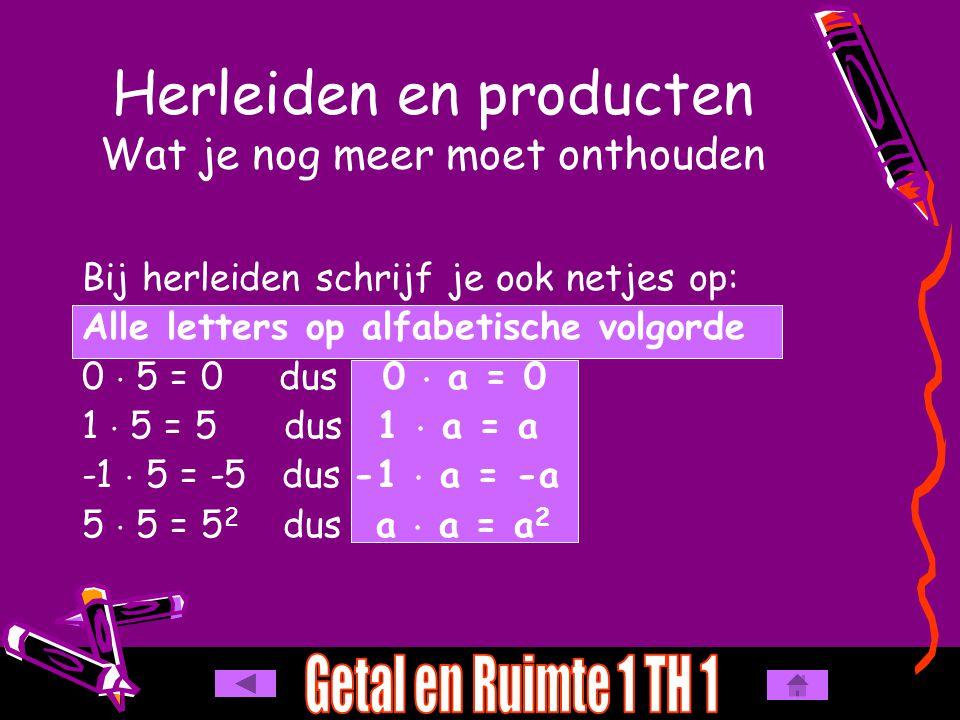 d -4q  -2r  p = -4q  -2r  1p = e 0,5y  0  16z = 0  yz = 0 f -8kn  7m = 8 pqr - 42 ab Herleiden en producten Herleid: a 30a  -3b = b -7b  6a = c -8m  -n = -8m  -1n = - 90 ab +  - = -30  3 = 90a  b = ab+  - = -b  a = ab (alfabetisch) 7  6 = 42-n = -1  n = -1n 8 mn -  - = +8  1 = 8m  n = mn p = 1  p = 1p -  -  + = + (even aantal -) 4  2  1 = 8 q  r  p = pqr (alfabetisch) 0,5  0  16 = 0 - 56 kmn -  + = -8  7 = 56kn  m = kmn (alfabetisch)