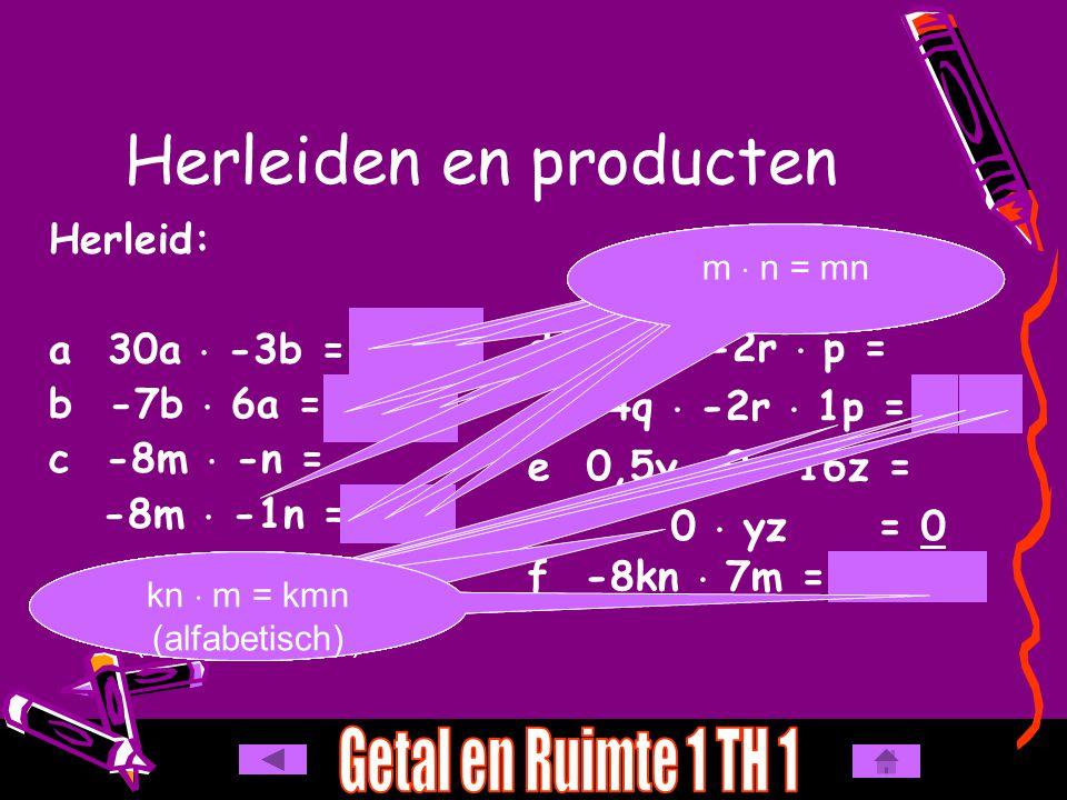 a -7a  6a = b -4y  -9z  -2y = c 8pq  -0,5pr = Herleiden en producten - 42 a 2 - 72 y 2 z - 4 p 2 qr -  + = -7  6 = 42a  a = a 2 -  -  - = - (oneven) 4  9  2 = 72y  z  y = y  y  z = y 2 z +  - = -8  0,5 = 4 pq  pr = p  q  p  r = p  p  q  r = p 2 qr