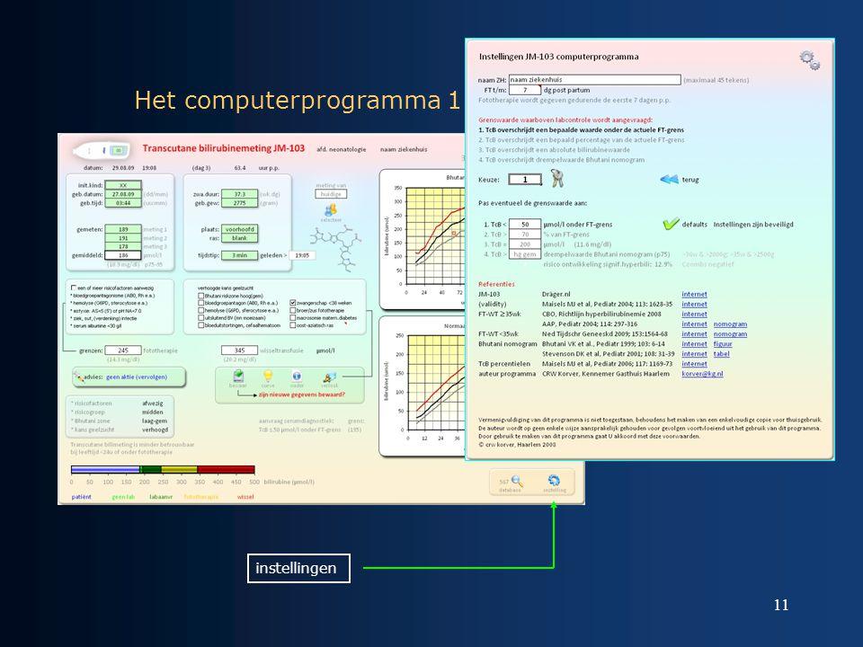 11 Het computerprogramma 1 instellingen