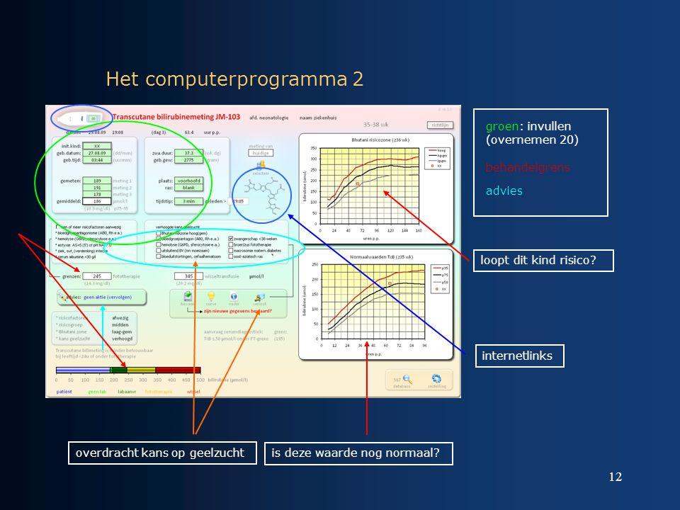 12 Het computerprogramma 2 groen: invullen (overnemen 20) behandelgrens advies is deze waarde nog normaal? loopt dit kind risico? internetlinks overdr