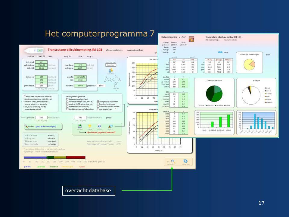 17 Het computerprogramma 7 overzicht database