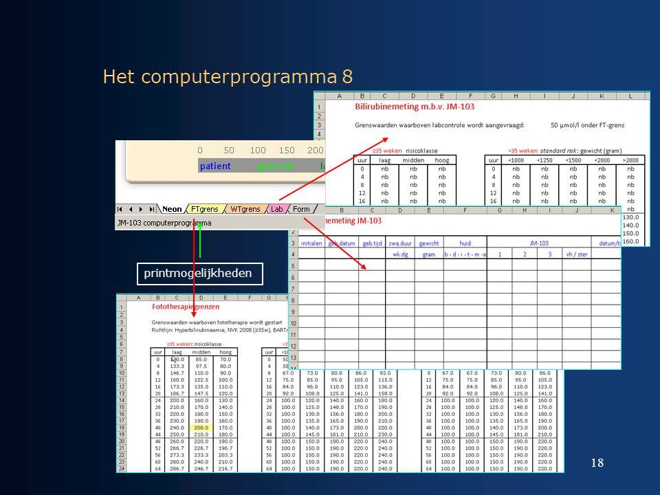 18 Het computerprogramma 8 printmogelijkheden