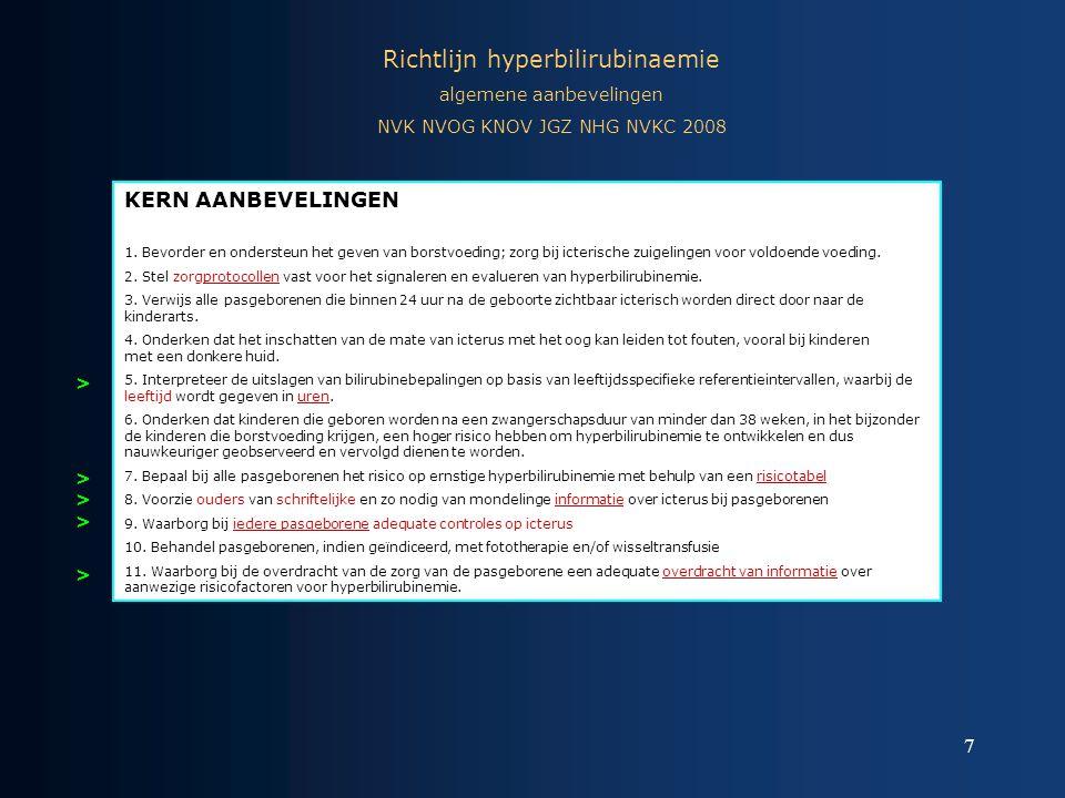7 Richtlijn hyperbilirubinaemie algemene aanbevelingen NVK NVOG KNOV JGZ NHG NVKC 2008 KERN AANBEVELINGEN 1. Bevorder en ondersteun het geven van bors