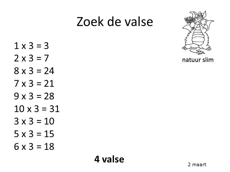 Zoek de valse 1 x 3 = 3 2 x 3 = 7 8 x 3 = 24 7 x 3 = 21 9 x 3 = 28 10 x 3 = 31 3 x 3 = 10 5 x 3 = 15 6 x 3 = 18 4 valse 2 maart