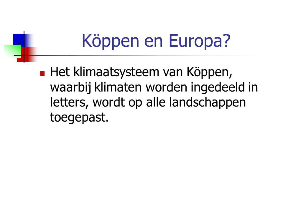 Köppen en Europa? Het klimaatsysteem van Köppen, waarbij klimaten worden ingedeeld in letters, wordt op alle landschappen toegepast.