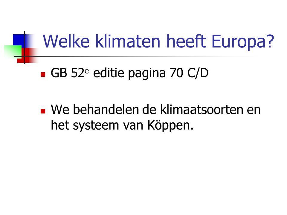 Welke klimaten heeft Europa? GB 52 e editie pagina 70 C/D We behandelen de klimaatsoorten en het systeem van Köppen.